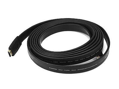 Monoprice® 10' CL2 Flat High Speed HDMI Male to Male 24AWG Cable, Black