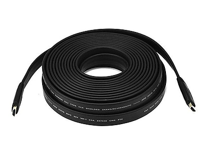 Monoprice® 35' CL2 Flat HDMI Male to Male 24AWG Cable, Black