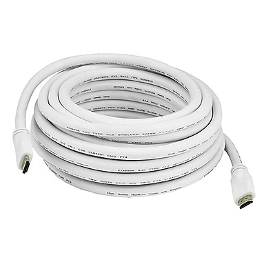 Monoprice® 25' CL2 HDMI Male to Male 24AWG Ethernet Cable, White