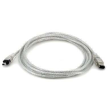 Monoprice® 6' 6P-4P Male/Male FireWire® i.LINK® DV Cable, Clear