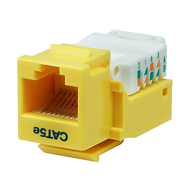 Monoprice® Cat5e RJ-45 Toolless Keystone Jack, Yellow