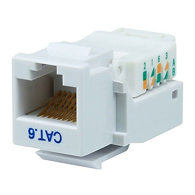 Monoprice® Cat6 RJ-45 Toolless Keystone Jack, White