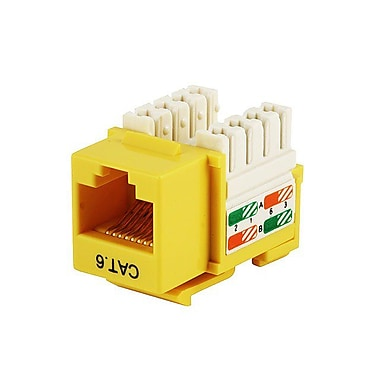 Monoprice® Cat6 Punch Down Keystone Jack, Yellow
