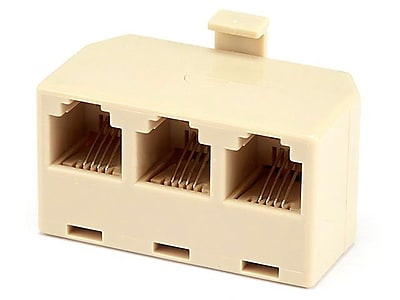 Monoprice® 1M/3F 6P4C T Adapter, White