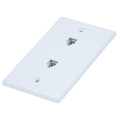 Monoprice® 6P4C Smooth Type Double Wall Plate Jack, White