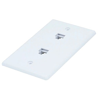 Monoprice® 8P8C Smooth Type Double Wall Plate Jack, White