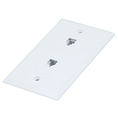 Monoprice® 6P4C Flush Type Double Wall Plate Jack, White