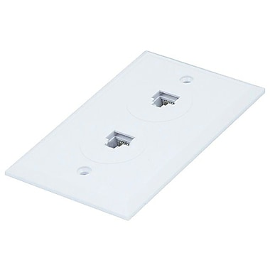 Monoprice® 8P8C Flush Type Double Wall Plate Jack, White