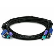 Monoprice® 6' SVGA PS/2 Male to Male Molded 3-in-1 KVM Cable, Black