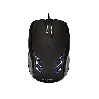 Monoprice® Blu Streak 3-Button Optical Mouse, Black