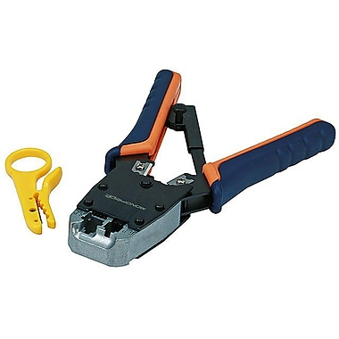 Monoprice® Dual-Modular Plug Crimps, Strips and Cuts Tool With Ratchet
