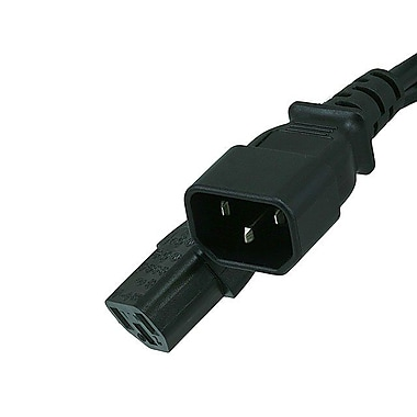 Monoprice® 15' 16AWG IEC C13 Female to IEC C14 Male Power Extension Cord, Black