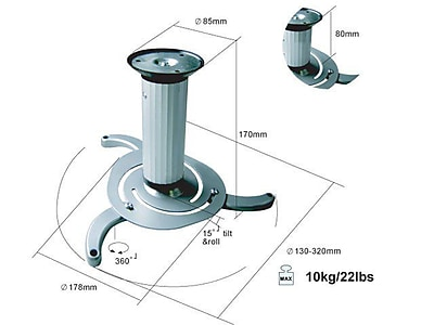 Monoprice® 22 lbs. Ceiling Bracket For Projector, White