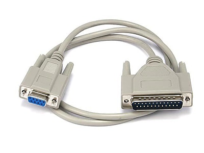Monoprice® 3' AT Modem DB9 Female to DB25 Male Molded Serial Cable
