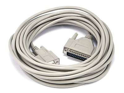 Monoprice® 25' AT Modem DB9 Female to DB25 Male Molded Serial Cable