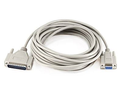 Monoprice® 25' DB9 Female to DB25 Male Null Modem Serial Cable