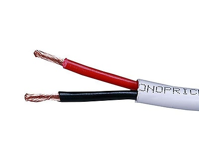 Monoprice® 250' CL2 2-Conductor 12AWG Oxygen-Free Copper Wire Cable For Loud Speaker, White