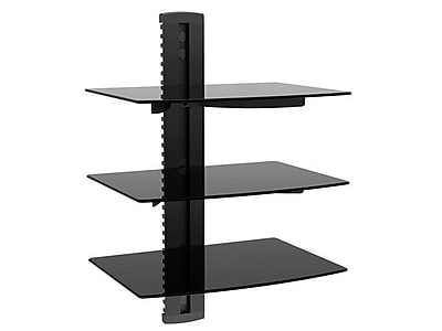 Monoprice® 110480 3-Tier Glass Shelf Wall Mount Bracket With Cable Management System, Black