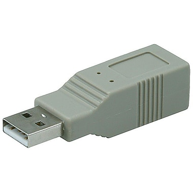 Monoprice® USB 2.0 A Male to B Female Adapter, Gray