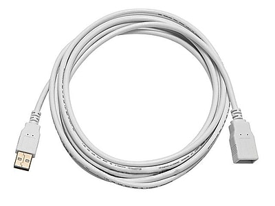 Monoprice® 10' Gold Plated USB 2.0 A Male to A Female Extension 28/24AWG Cable, White