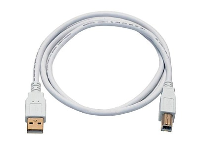 Monoprice® 3' Gold Plated USB 2.0 A Male to B Male 28/24AWG Cable, White
