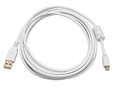 Monoprice® 10' Gold Plated USB 2.0 A Male to Micro 5pin Male 28/24AWG Cable With Ferrite Core, White