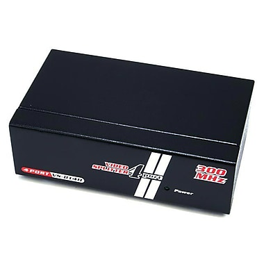 Monoprice® 300MHz 4 Way VGA/SVGA Splitter/Amplifier/Multiplier, Black