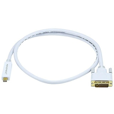 Monoprice® 3' Mini DisplayPort Male to DVI Male 32AWG Cable, White