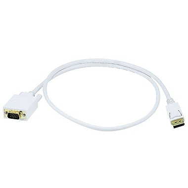 Monoprice® 3' DisplayPort Male to VGA Male 28AWG Cable, White