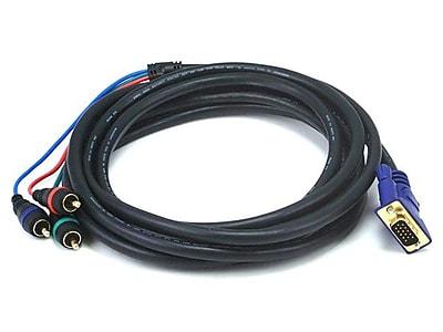 Monoprice® 12' VGA to 3-RCA Component Video Cable, Black