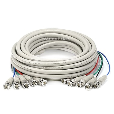 Monoprice® 25' 5 Pin BNC RGB to 5 Pin BNC RGB Video Cable, Beige