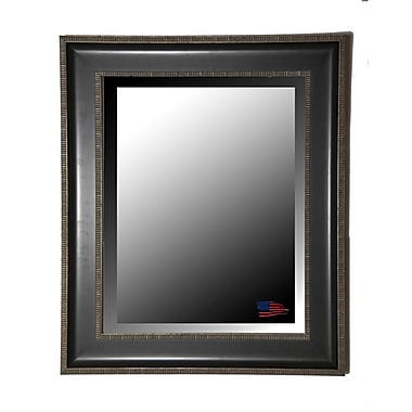 Rayne Mirrors Black w/ Silver Cage Trim Wall Mirror; 38.25'' H x 32.25'' W x 2'' D