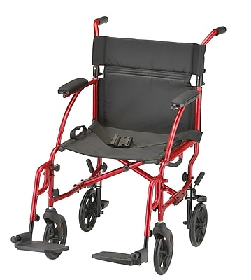 Nova Medical Products Aluminum Transport Chair, Red