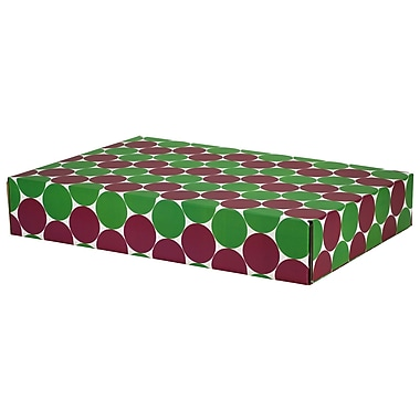 GPP Gift Shipping Box, Classic Line, Green/Berry Polkadots