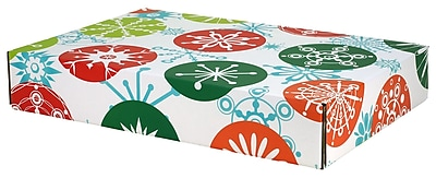 "12.2""x 3""x17.8"" GPP Gift Shipping Box, Holiday Line, Jumbo Snowflakes, 24/Pack"