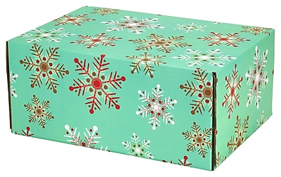 """6.2""""X 3.7""""X9.5"""" GPP Gift Shipping Box, Holiday Line, Teal Snowflakes, 48/Pack"""