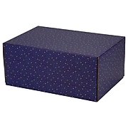 """6.2""""X 3.7""""X9.5"""" GPP Gift Shipping Box, Holiday Line, Gold Stars on Blue, 24/Pack"""