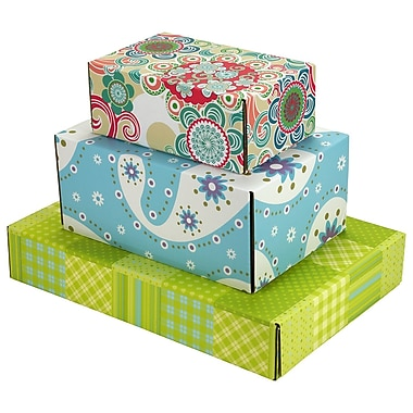 Assorted Size GPP Gift Shipping Box, Lisa Line, Assorted Styles, 6/Pack