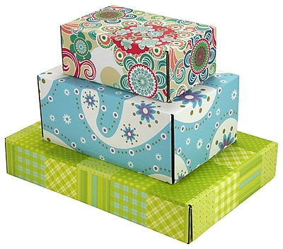 Assorted Size GPP Gift Shipping Box, Lisa Line, Assorted Styles, 48/Pack