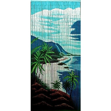 Bamboo54 Tropical Clifts Graphic Print & Text Semi-Sheer Single Curtain Panel