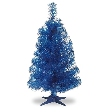 National Tree Co. Tinsel Trees 3'' Blue Artificial Christmas Tree and Stand