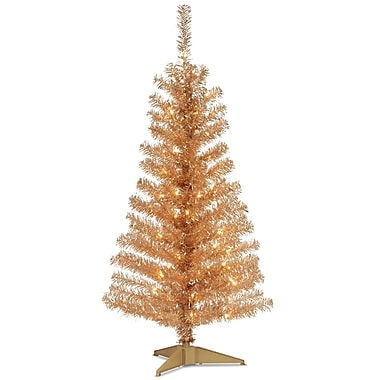 National Tree Co. Tinsel Trees 4' Champagne Artificial Christmas Tree w/ 70 Clear Lights And Stand