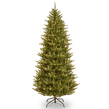 National Tree Co. Natural Fraser 7.5' Narrow Green Christmas Tree w/ 750 Clear Lights and Stand