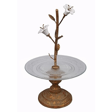 Privilege Small Glass Tray On Metal Stand