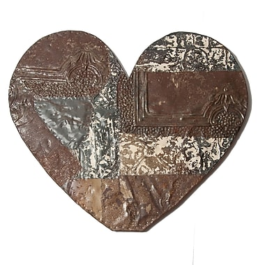 Ozark Folk Art Antique Tin Heart Shape Wall Art; Large