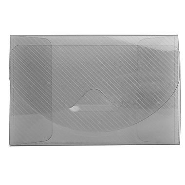 JAM Paper® Plastic Business Card Case with Tuck Closure, Smoke Grey Grid, Sold Individually (370673)