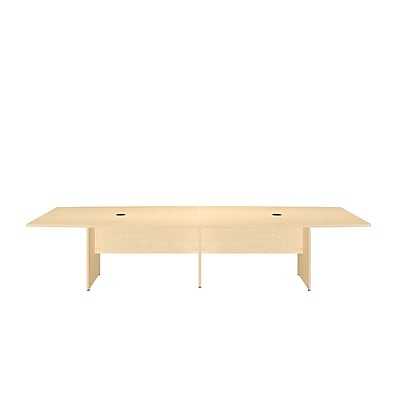 Bush Business 120L x 48W Boat Top Conference Table with Wood Base, Natural Maple
