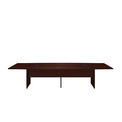 Bush Business 120L x 48W Boat Top Conference Table with Wood Base, Harvest Cherry