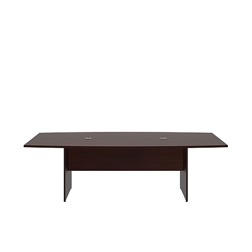 Bush Business L X W Boat Top Conference Table With Wood Base - Cherry wood conference table