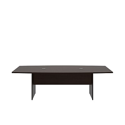 Bush Business 96L x 42W Boat Top Conference Table with Wood Base, Mocha Cherry, Installed